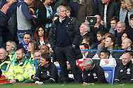 Jose Mourinho, the Manchester United manager looking on from the dugout. Premier league match, Chelsea v Manchester Utd at Stamford Bridge in London on Sunday 23rd October 2016.<br /> pic by John Patrick Fletcher, Andrew Orchard sports photography.