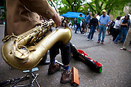 """The extremely popular Saturday Portland Farmers' Market, located in the South Park Blocks near the Portland State University Campus, offers a large selection of locally grown organic produce, fish, meat and foodstuffs.  Pictured here is the band,"""" The Cardboard Songsters,"""" Felix Manx and Nate Lumbard who perform at the market."""