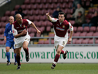 Photo: Marc Atkins.<br /> Northampton Town v Rochdale. Coca Cola League 2. 08/04/2006. <br /> Northampton's Scott McGleish celebrates.