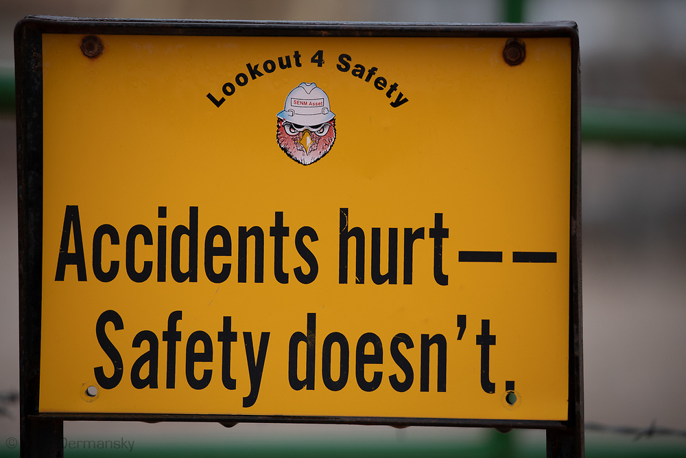 Safety warning sign in the Permian Basin.