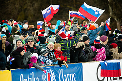 Supporters of Slovenia during 2nd Round at Day 1 of World Cup Ski Jumping Ladies Ljubno 2019, on February 8, 2019 in Ljubno ob Savinji, Slovenia. Photo by Matic Ritonja / Sportida