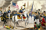 Mexican-American War 1846-1848:  General Winfield Scott, commander of the US Army of the North, making a triumphal entry into Mexico City on a white charger, 14 September 1847.  Print c1848. Flag Stars-and-Stripes Mexico