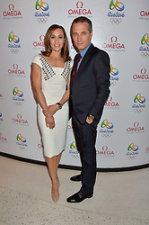 JESSICA ENNIS-HILL and RAYNALD AESCHLIMANN VP of Omega at the OMEGA 100 days to Rio Olympics VIP Dinner at Sushi Samba, Heron Tower, 110 Bishopsgate, City of London on 27th April 2016.