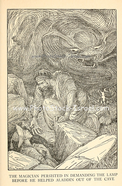 The Magician Persisted In Demanding The Lamp Before He Helped Aladdin Out Of The Cave from the book '  The Arabian nights' entertainments ' Test and Illustrations by Louis Rhead, Published  in New York by Harper & Brothers in 1916. In order to save her life, Sheherazade entertains the sultan by telling him wondrous stories