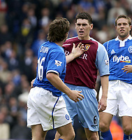 Picture: Henry Browne.<br />Date: 19/10/2003.<br />Birmingham City v Aston Villa FA Barclaycard Premiership.<br />David Dunn of City pushes off Villa's Gareth Barry after being accused of diving