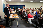 Bill Banowsky, the Highland Park school district's attorney, answers a question during a school board meeting at McCulloch Intermediate School in Dallas, Texas on November 11, 2014. (Cooper Neill for The Texas Tribune)