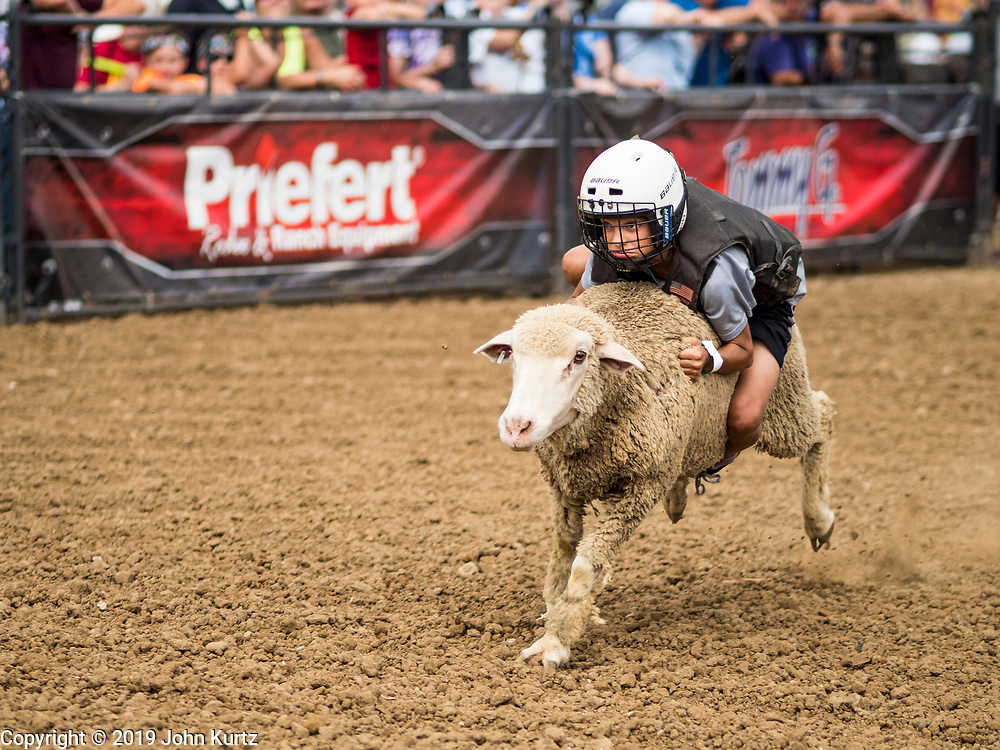 """14 AUGUST 2019 - DES MOINES, IOWA: A competitor rides a sheep in """"Mutton Busting"""" at the Iowa State Fair. The Iowa State Fair is one of the largest state fairs in the U.S. More than one million people usually visit the fair during its ten day run. The 2019 fair run from August 8 to 18.               PHOTO BY JACK KURTZ"""