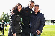 MOM Forest Green Rovers Gavin Gunning(16) with match ball sponsor during the EFL Sky Bet League 2 match between Forest Green Rovers and Exeter City at the New Lawn, Forest Green, United Kingdom on 4 May 2019.