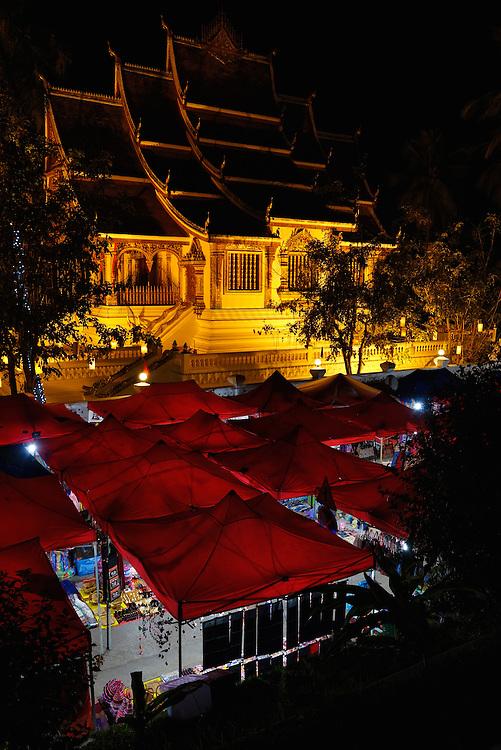 Night market in the city of Luang Prabang, Laos.