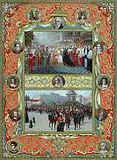 Victoria (1819-1901) queen of England from 1837 and Empress of India from 1876. Coronation in Westminster Abbey, 28 June 1837. Archbishop of Canterbury placing crown on queen's head (top); Jubilee procession 22 June 1887 (bottom); surrounding portraits: top; Duke of Kent (father), William IV, Duchess of Kent (mother), left; Mary Queen of Scots, Mary II, Henry III, Edward III, George III. Oleograph published at time of her Golden Jubilee in 1887