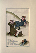 Jack and Jill / Went up the hill / To fetch a pail of water / Jack fell down and broke his crown / And Jill came tumbling after. from the book Mother Goose : or, The old nursery rhymes by Kate Greenaway, Engraved and Printed by Edmund Evans published in 1881 by George Routledge and Sons London nad New York