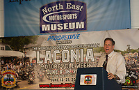 Governor Chris Sununu speaks at the 2019 kickoff event for the 96th Laconia Motorcycle Week Rally at the North East Motor Sports Museum in Loudon.  Karen Bobotas for the Laconia Daily Sun