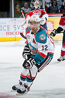 KELOWNA, CANADA - MARCH 22: Tyrell Goulbourne #12 of the Kelowna Rockets skates against the Tri-City Americans on March 22, 2014 during game 1 of the first round of WHL Playoffs at Prospera Place in Kelowna, British Columbia, Canada.   (Photo by Marissa Baecker/Getty Images)  *** Local Caption *** Tyrell Goulbourne;