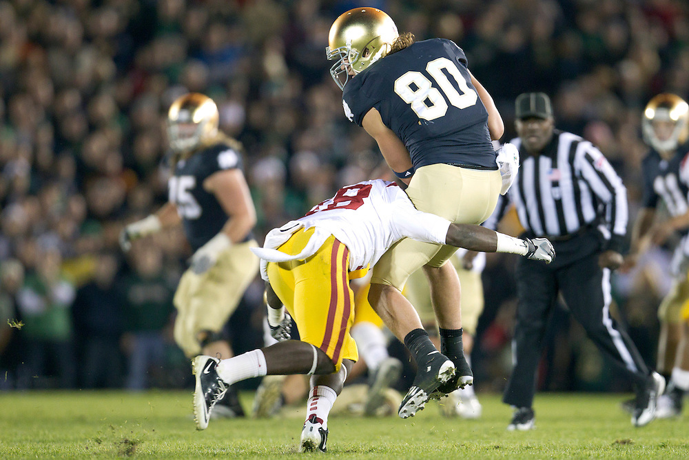 Notre Dame tight end Tyler Eifert (#80) makes reception during third quarter of NCAA football game between Notre Dame and USC.  The USC Trojans defeated the Notre Dame Fighting Irish 31-17 in game at Notre Dame Stadium in South Bend, Indiana.