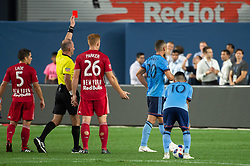 August 22, 2018 - Bronx, New York, United States - New York City midfielder ELOI AMAGAT (20) gets a red card during a regular season match at Yankee Stadium in Bronx, NY.  New York City FC tie the New York Red Bulls 1 to 1 (Credit Image: © Mark Smith via ZUMA Wire)
