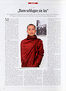 Der Spiegel - Monk and protest leader Ashin Kovinda at a safe house in Thailand after fleeing from the Burmese government crack down.