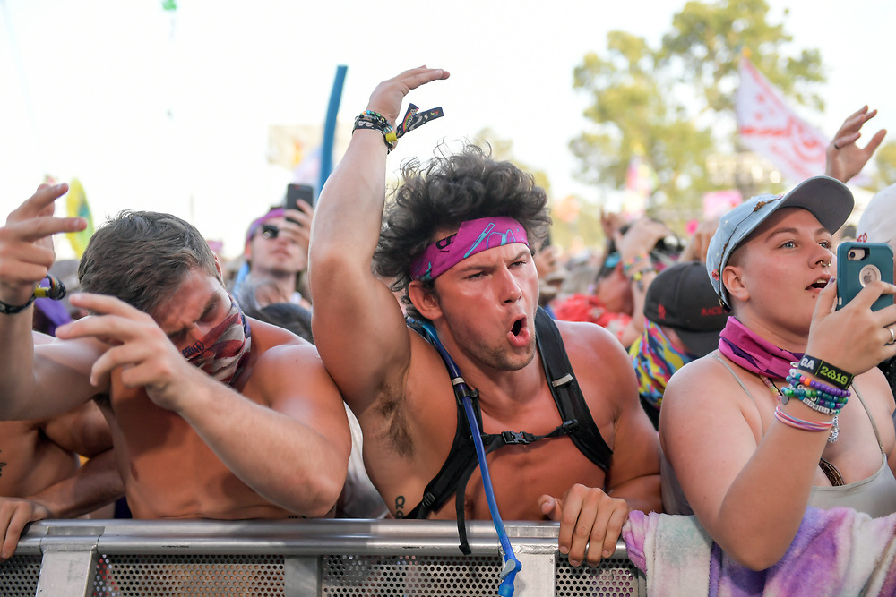 An intense guy gets into the music at The Other Stage during The Bonnaroo Music and Arts Festival in Manchester, TN