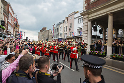 Windsor, UK. 18 May, 2019. Led by the Band of the Household Cavalry, the Household Cavalry exercise their right to a Freedom of Entry March through Windsor by way of a farewell to the town where they have been based for over 200 years in advance of their relocation to Salisbury Plain later this year.