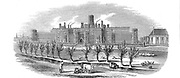 Reading Gaol, Berkshire, England. Exterior view of newly built County Gaol opened in 1844. On same plan as the model prison at Pentonville, it was arranged in four wings joined by central Inspection Hall. Approximatedly 520 cells, each with hammock, stool, table, gas light, wash basin and WC. Cells arranged in three tiers opening onto balconies overlooking central hall. From 'The Illustrated London News', 17 February 1844. Wood engraving