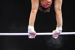 August 18, 2018 - Boston, Massachussetts, U.S - YUL MOLDAUER practices on the high bar during the warm-up period before the final round of competition held at TD Garden in Boston, Massachusetts. (Credit Image: © Amy Sanderson via ZUMA Wire)
