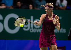 October 25, 2018 - Kallang, SINGAPORE - Kiki Bertens of the Netherlands in action during her second match at the 2018 WTA Finals tennis tournament (Credit Image: © AFP7 via ZUMA Wire)