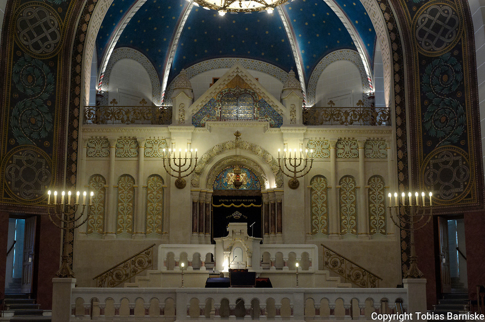 The Synagogue Rykestrasse in Berlin was built in 1903/1904. During the Naz times, the synagogue building wasn't destroyed due to the closeness of the surrounding buildings. In GDR-times, Synagogue Rykestrasse was the only sacred building in East Berlin. Since its renovation in 2007, it has 1200 seats and is therefore the largest synagogue in Germany.