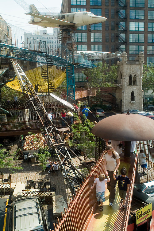 City Museum, a hundred-year-old warehouse in which artists have repurposed the pieces of old cities to build miles of tunnels, slides, climbers, bridges, and castles.  The exhibits consist largely of repurposed architectural and industrial objects, housed in the former International Shoe building in the Washington Avenue Loft District of St. Louis, Missouri, United States.