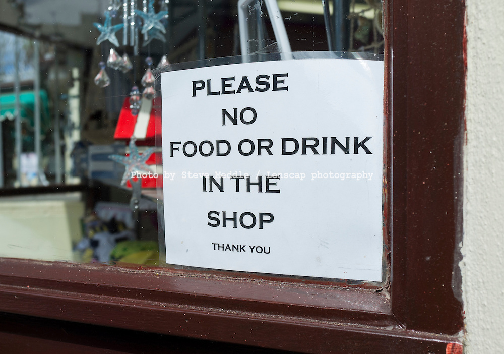 No Food or Drink Sign in Shop Window - Aug 2011