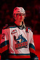 KELOWNA, BC - FEBRUARY 28: Dillon Hamaliuk #22 of the Kelowna Rockets lines up for the national anthem against the Everett Silvertips at Prospera Place on February 28, 2020 in Kelowna, Canada. Hamaliuk was selected in the 2019 NHL entry draft by the San Jose Sharks.  (Photo by Marissa Baecker/Shoot the Breeze)