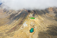 Aerial view of fog covering summit at Tongariro National Park, New Zealand.