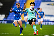 Brighton & Hove Albion forward  Lee Geum-Min (9) runs forward during the FA Women's Super League match between Birmingham City Women and Brighton and Hove Albion Women at St Andrews, Birmingham United Kingdom on 12 September 2021.