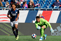 March 9, 2019 - Foxborough, MA, U.S. - FOXBOROUGH, MA - MARCH 09: Columbus Crew goalkeeper Zack Steffen (23) distributes the ball during a match between the New England Revolution and Columbus Crew SC on March 9, 2019, at Gillette Stadium in Foxborough, Massachusetts. (Photo by Fred Kfoury III/Icon Sportswire) (Credit Image: © Fred Kfoury Iii/Icon SMI via ZUMA Press)