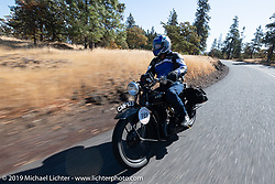 Charles Falco riding his 1928 Ariel model C on the Motorcycle Cannonball coast to coast vintage run. Stage 15  (51 miles - the Grand Finish) from The Dalles to Stevenson, OR. Sunday September 23, 2018. Photography ©2018 Michael Lichter.