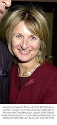 Art patron the HON.MRS JANET DE BOTTON at a party in London on 12th September 2001.OSE 5
