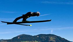 08.10.2010, Paul Ausserleitner Schanze, Bischofshofen, AUT, Österreichische Staatsmeisterschaften Skispringen, im Bild Feature Skispringer über einer Bergkulisse, EXPA Pictures © 2010, PhotoCredit: EXPA/ J. Feichter