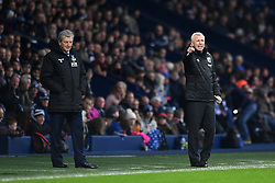 "West Bromwich Albion manager Alan Pardew (right) and Crystal Palace manager Roy Hodgson during the Premier League match at The Hawthorns, West Bromwich. PRESS ASSOCIATION Photo Picture date: Saturday December 2, 2017. See PA story SOCCER WBA. Photo credit should read: Anthony Devlin/PA Wire. RESTRICTIONS: EDITORIAL USE ONLY No use with unauthorised audio, video, data, fixture lists, club/league logos or ""live"" services. Online in-match use limited to 75 images, no video emulation. No use in betting, games or single club/league/player publications."