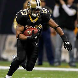 January 7, 2012; New Orleans, LA, USA; New Orleans Saints running back Pierre Thomas (23) against the Detroit Lions during the 2011 NFC wild card playoff game at the Mercedes-Benz Superdome. Mandatory Credit: Derick E. Hingle-US PRESSWIRE