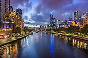 City of Melbourne Skyline Along the Yarra River at Dusk