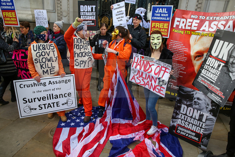 © Licensed to London News Pictures. 22/02/2020. London, UK. Campaigners for Wikileaks founder JULIAN ASSANGE  rally outside Australia House, Strand, demanding that ASSANGE should not be extradited to the USA. JULIAN ASSANGE faces 18 charges in the United States including conspiring to hack government computers and violating an espionage law. His extradition trial begins at Woolwich Crown Court on Monday, 24 February 2020. Photo credit: Dinendra Haria/LNP