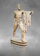 2nd century AD Roman marble sculpture of Harmodius  from the Tyrannicide group,  a Roman copy of an early classical period Geek original, inv 6009, Naples Museum of Archaeology, Italy ..<br /> <br /> If you prefer to buy from our ALAMY STOCK LIBRARY page at https://www.alamy.com/portfolio/paul-williams-funkystock/greco-roman-sculptures.html . Type -    Naples    - into LOWER SEARCH WITHIN GALLERY box - Refine search by adding a subject, place, background colour, etc.<br /> <br /> Visit our ROMAN WORLD PHOTO COLLECTIONS for more photos to download or buy as wall art prints https://funkystock.photoshelter.com/gallery-collection/The-Romans-Art-Artefacts-Antiquities-Historic-Sites-Pictures-Images/C0000r2uLJJo9_s0