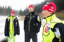 Teja Gregorin, Uros Velepec, head coach and Andreja Mali during practice session of Slovenian biathlon team before new winter season 2012/13 on November 19, 2012 in Rudno polje, Pokljuka, Slovenia. (Photo By Vid Ponikvar / Sportida)