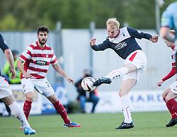Falkirk's Mark Beck shots.<br /> Falkirk 1 v 1 Hamilton, Scottish Premiership play-off semi-final first leg, played 13/5/2014 at the Falkirk Stadium.
