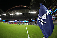 a general view showing the Tottenham Hotspur logo on the corner flag. UEFA Champions league match, group E, Tottenham Hotspur v AS Monaco at Wembley Stadium in London on Wednesday 14th September 2016.<br /> pic by John Patrick Fletcher, Andrew Orchard sports photography.