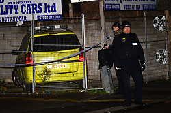© Licensed to London News Pictures. 24/11/2019. London UK: Police seal off Telegraph Mews in Ilford east London after being called to reports of males fighting at around 6,00am this morning. Detectives were then called to Ilford lane where a 24 year old male was found with stab wounds. He was pronounced  dead in hospital  at around 12.30 this afternoon, Photo credit: Steve Poston/LNP