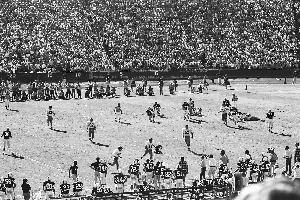 COLLEGE FOOTBALL:  Stanford vs USC (#4 ranking) on October 10, 1970 at Stanford Stadium in Palo Alto, California.  Stanford won by a final score of 24-14.  Visible players include Jim Plunkett #16.  Photograph by David Madison / www.davidmadison.com.  R0067