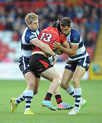Bristol Rugby's Charlie Amesbury and Bristol Rugby's Jack Wallace tackle Jersey Rugby's Drew Locke - Photo mandatory by-line: Dougie Allward/JMP - Mobile: 07966 386802 - 17/04/2015 - SPORT - Rugby - Bristol - Ashton Gate - Bristol Rugby v Jersey - Greene King IPA Championship