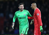 Watford's Heurelho Gomes consoles WBA's Ben Foster during the Premier League match at Vicarage Road Stadium, London. Picture date: April 4th, 2017. Pic credit should read: David Klein/Sportimage