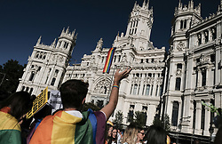 July 1, 2017 - Madrid, Spain - Participants gather at during the WorldPride 2017 parade in Madrid on July 1, 2017. Revellers took to the rainbow streets of Madrid today in the world's biggest march for gay, lesbian, bisexual and transgender rights. Carried along by the slogan 'Viva la vida!' (Live life!), the parade of 52 floats started partying its way through the centre later afternoon in celebration of sexual diversity, under high security. (Credit Image: © Oscar Gonzalez/NurPhoto via ZUMA Press)