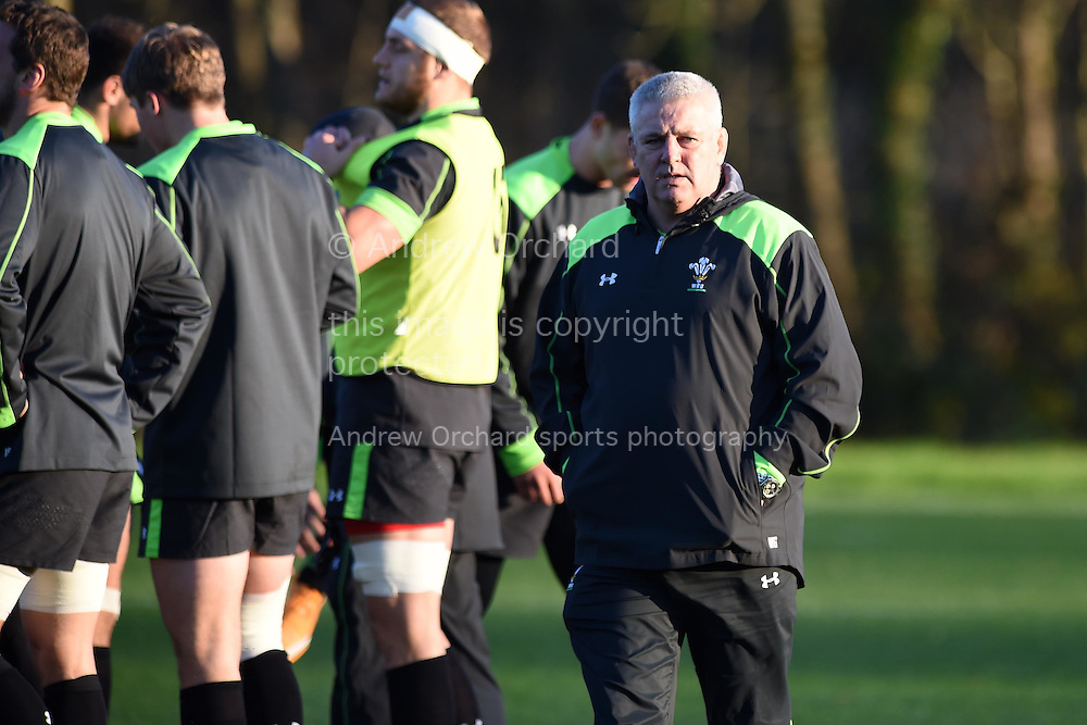 Wales head coach Warren Gatland looks on. Wales rugby team training at the Vale Resort, Hensol , near Cardiff, South Wales on Tuesday 18th November 2014. Wales are looking ahead to their next match against the Allblacks on Saturday.<br /> pic by Andrew Orchard, Andrew Orchard sports photography.
