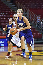 03 November 2009: Amanda Harnist brings the ball across the 3 point line during a game between Panthers of Kentucky Wesleyan and the Redbirds of Illinois State University on Doug Collins Court inside Redbird Arena in Normal Illinois.